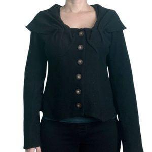 Anthropologie's Guinevere black boiled wool jacket